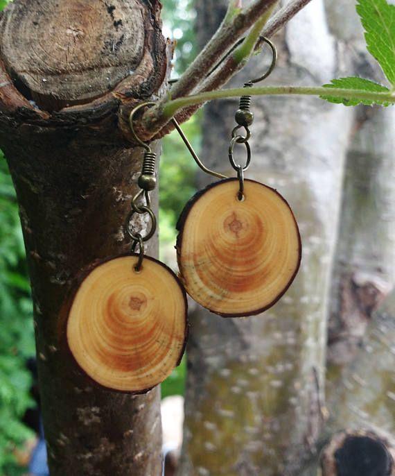 Orecchini di recupero pino legno penzolare orecchini Boho