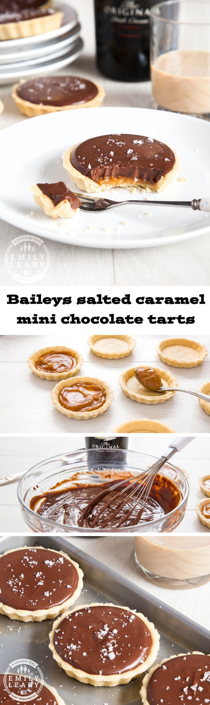 Baileys salted caramel mini chocolate tarts. Stunningly delicious. Sweet shortcrust pastry, a layer of salted caramel, topped with creamy Baileys and chocolate ganache, and finished with a sprinkle of s
