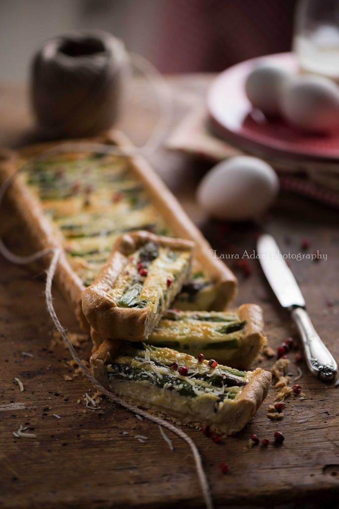 Veganize with chickpea flour.  Beautiful styling.  quiche asparagi
