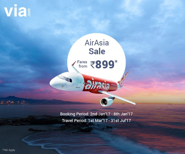 #FareAlert AirAsia Sale! Lowest #Airfares starting from INR 899. Limited Period Offer. Hurry!
