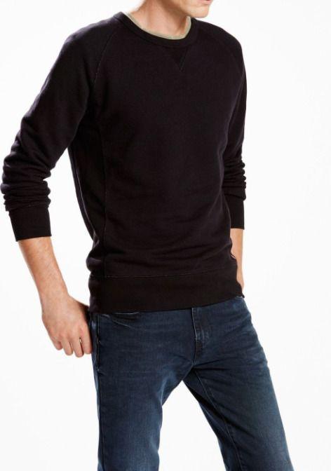 d7340a0b7eb4 New Levi s Mens 15805 Black Original Crew Neck Terry Pullover Sweatshirt  Medium  Levis  SweatshirtCrew