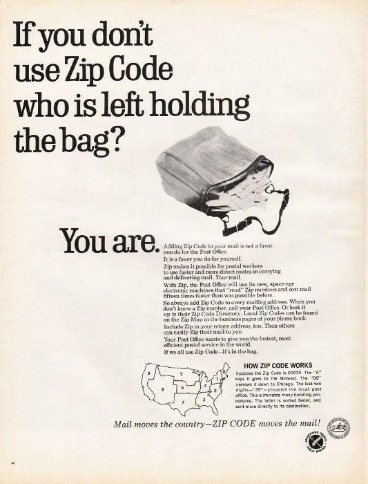 """1967 ADVERTISING COUNCIL -- ZIP CODES vintage magazine advertisement """"holding the bag"""" ~ If you don't use Zip Code who is left holding the bag?  -  You are.  -  Mail moves the country -- ZIP CODE moves the mail! ~"""