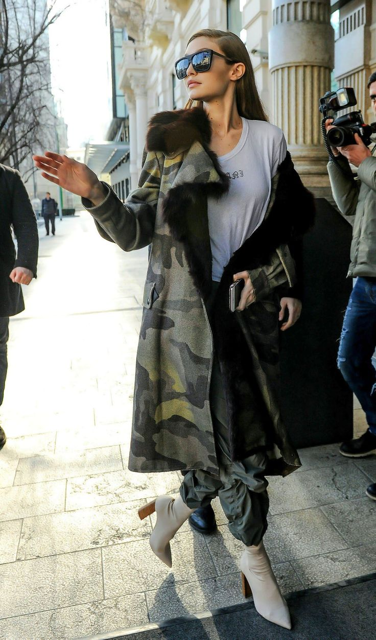 Gigi Hadid Oversized square sunnies and camo parka