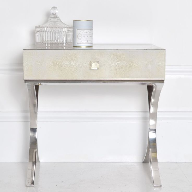 Rectangular Bedside Table With Mirror Based Legs And White Painted Wall  Panel With Bedroom Furniture Chest Of Drawers Plus Furniture Direct.