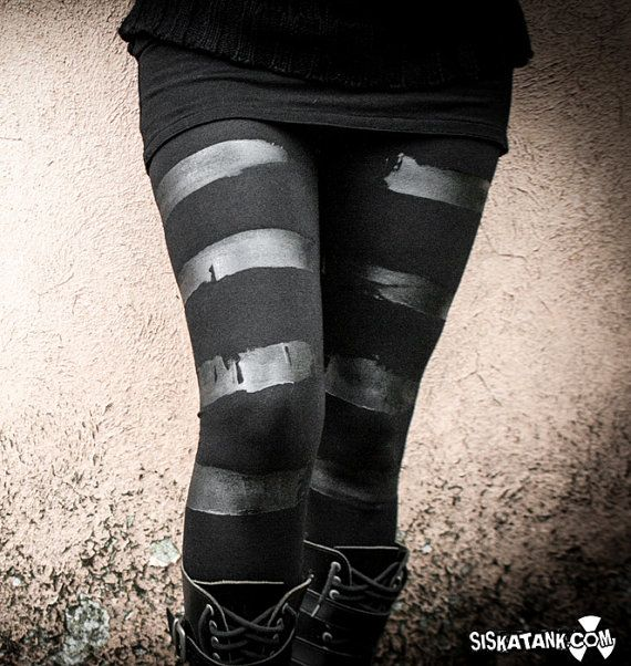 KURO - Black Leggings Stripes Nomad Industrial Goth Lines Edgy Post Apocalyptic…