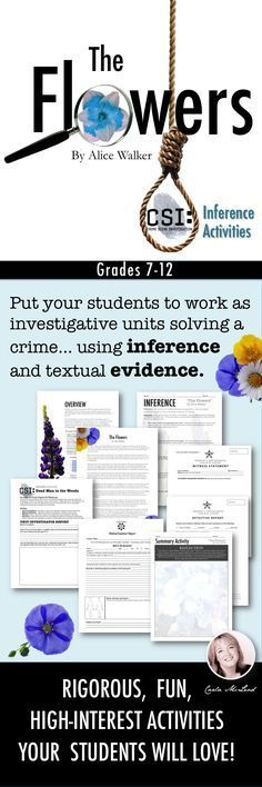 Use Alice Walker's shortest of short stories to teach your high schoolers and advanced middle schoolers how to use text clues and prior knowledge to make advanced inferences--all while having fun along the way. In this CSI inference activity, students work in investigative units to determine what happened to the victim in the story. No prep, detailed answer keys--just print and go!