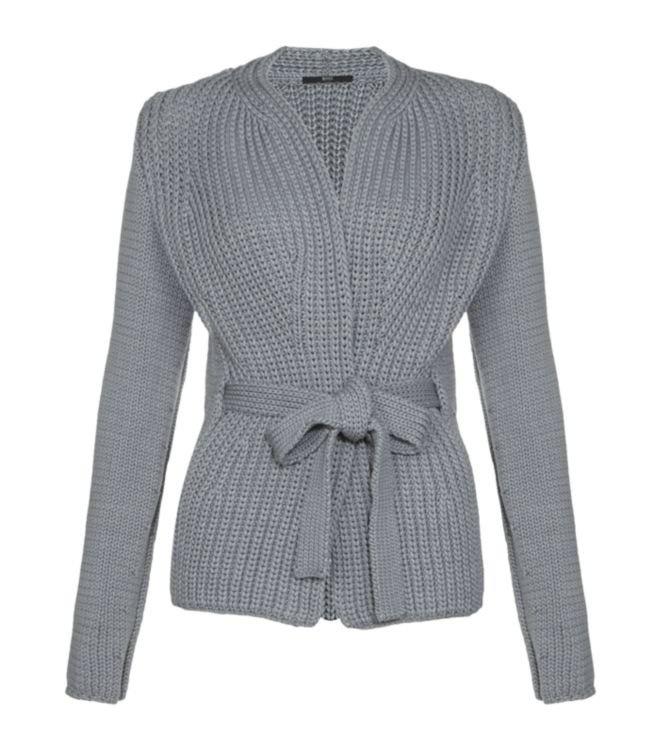 BOSS Black Chunky Knit Cardigan in Grey