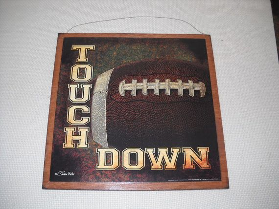 Touchdown Football Boys Sports Bedroom Wall Art Sign Choose your Background Color