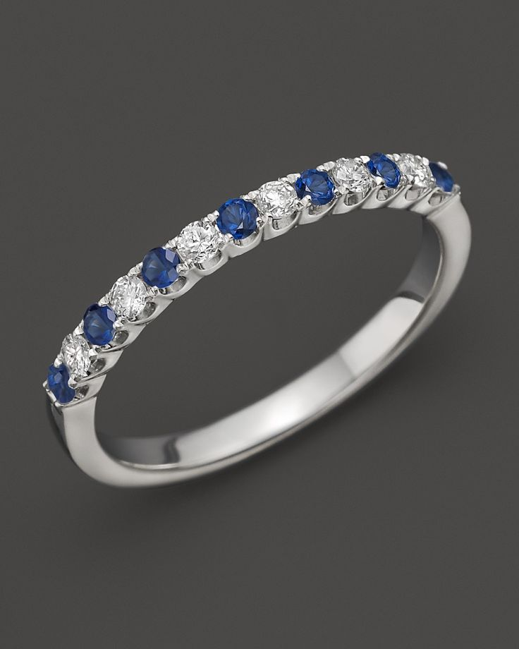 Diamond and Sapphire Band in 14K White Gold | Bloomingdale's. eternity band