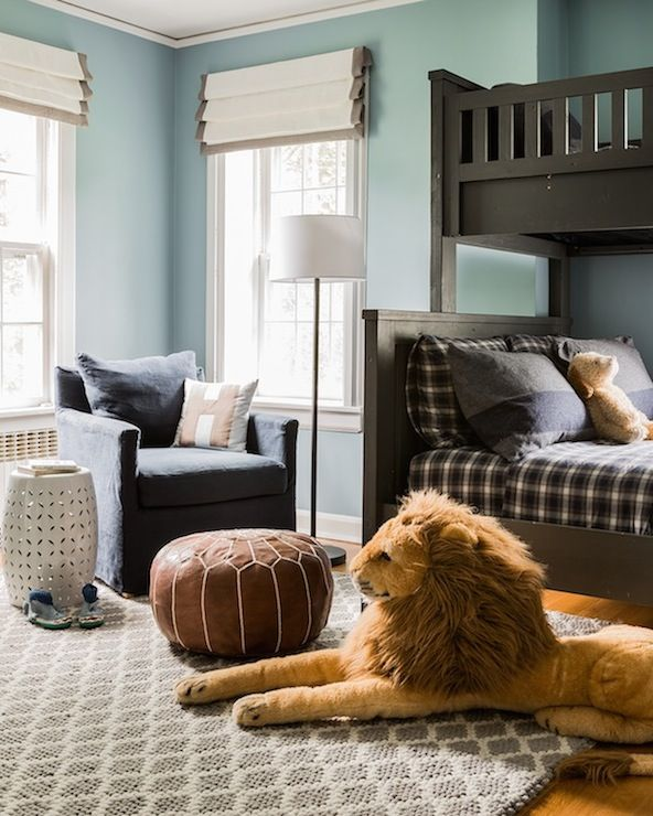 Blue and Gray Kids Room, Transitional, boy's room, Erin Gates Design