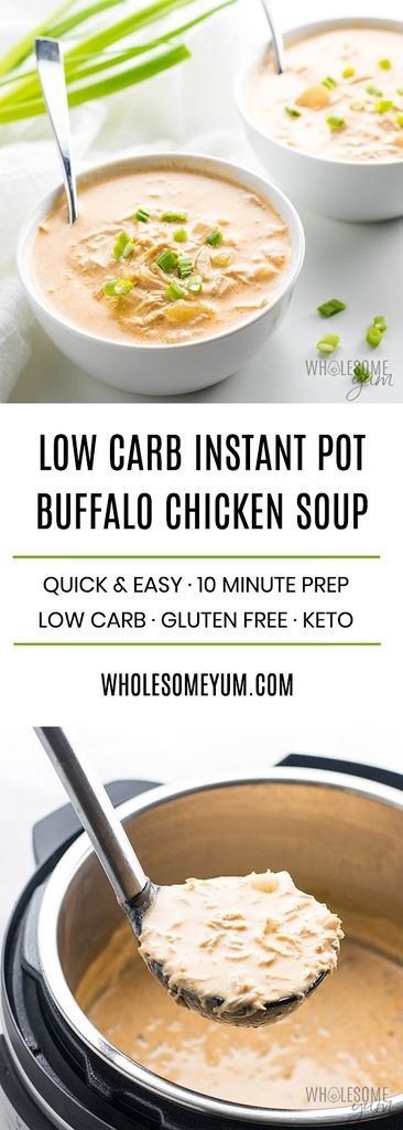 Learn how to make low carb buffalo chicken soup in the Instant Pot. A quick and easy recipe using common ingredients. Only 30 minutes total!