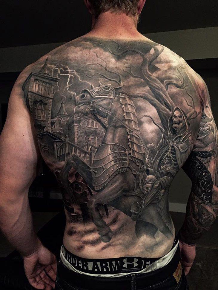 Skeleton on Horseback Back Tattoo | Best tattoo design ideas