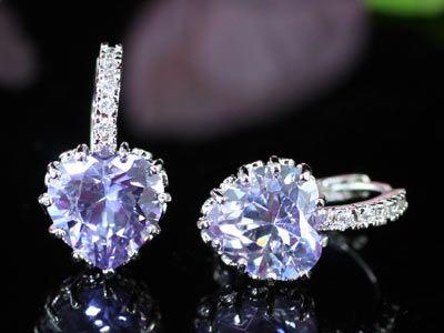 heart sapphire earings purple