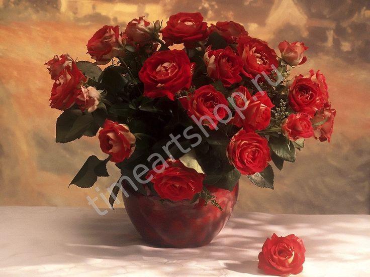 Букет красных садовых роз, алмазная мозаика (алмазная вышивка) полная выкладка, на подрамнике имитация багета, размер 40*50см. картины своими руками
