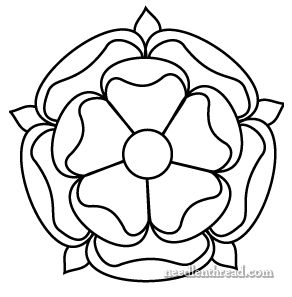 Tudor-Style Rose Hand Embroidery Pattern