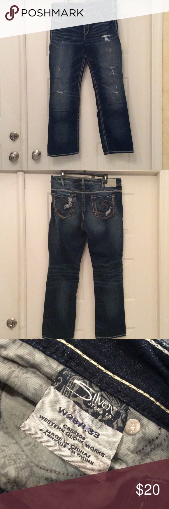 """Silver sukiyaki Denim Jeans W28/33 regular 16/31 Silver Suki dark wash Denim boot cut jeans tag W28 L 33 ladies size 16,  rise 10"""" inches, inseam 31. Have been worn several times. Distressed, fading, Whiskering , frayed hem, Style W93616SAI394. Signature white tag on waistline, jeans have a patch inside both leg . On the original tag I wrote the size 16/31 . 78% cotton 13% rayon 1% elastase,  Need more photo please ask Silver Jeans Jeans Boot Cut"""