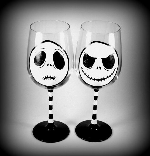 Halloween Wine Glasses, Set of TWO, Skeleton Nightmare | Handmade Gifts, Hand Painted Glassware, Up-Cycled, Made in USA