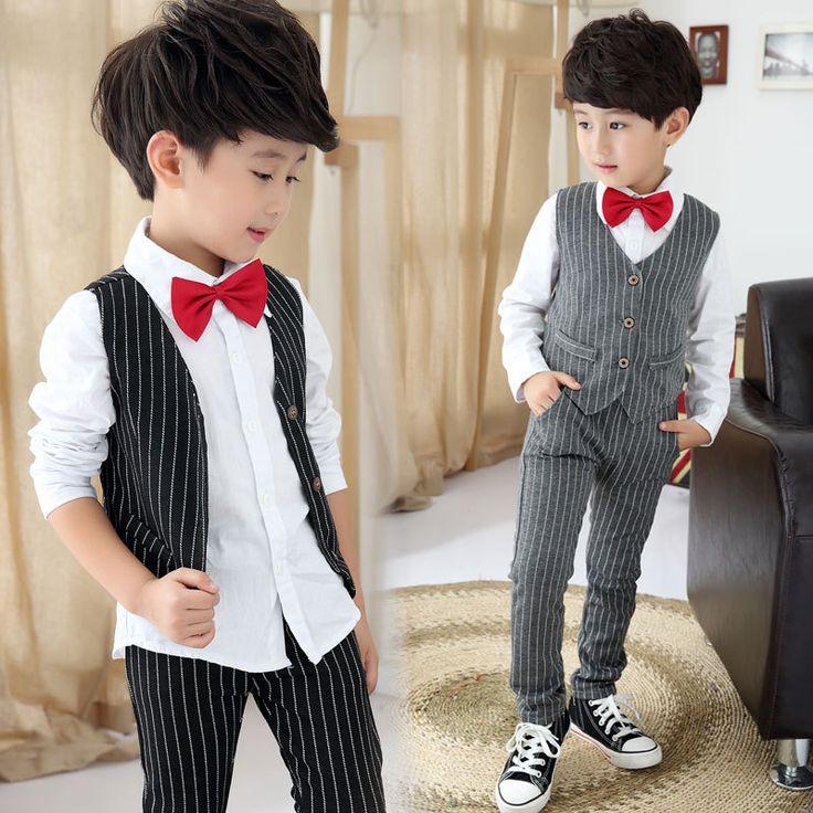 Juinor Boys Clothing Sets Striped Vest Pant Shirt Suits Formal Outfits Kids School