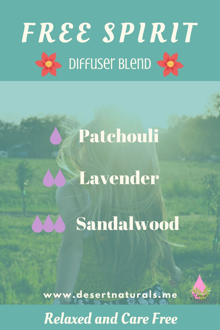 Free Spirit Diffuser Blend.  Set your spirit free with this relaxing diffuser blend of patchouli, lavender, and sandalwood essential oils.