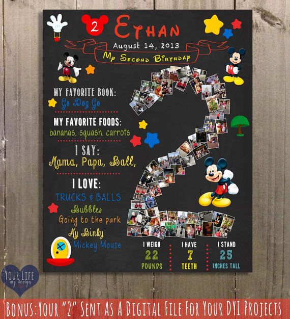 Mickey Mouse Birthday Chalkboard Sign Two Year by YourLifeMyDesign