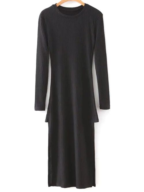 Side Slit Round Neck Long Sleeve Sweater Dress #shoes, #jewelry, #women, #men, #hats, #watches