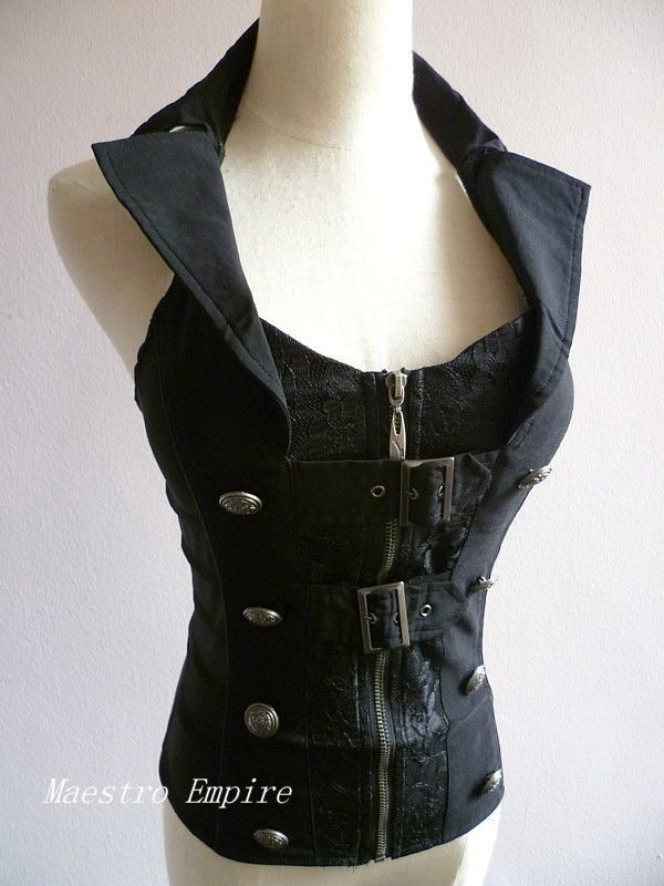 Black Gothic Goth Steampunk Victorian Buckle Punk Cosplay Corset Halter Top  Unbranded  Blouse