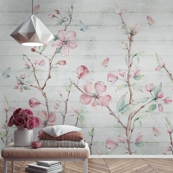 Watercolor Cherry Blossom Peel And Stick Removable Wallpaper Sakura Flower Wall Murals Floral Wall Painting Self Adhesive Wallpaper In 2021 Cherry Blossom Wallpaper Floral Wall Mural Wallpaper