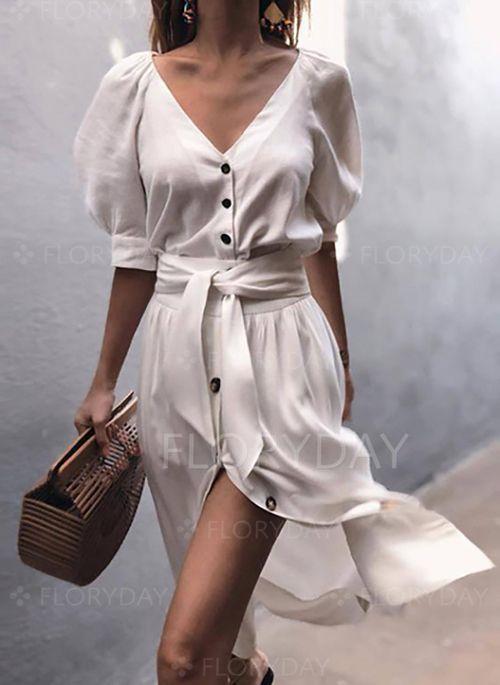 5ef35edb2e6982 Lässige Kleidung Halbarm Uni Midi Kleider -  Halbarm  Kleider  Kleidung   Lässige  Midi  Uni