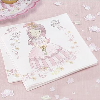 Pack of 20 pink paper napkins with our princess surrounded by flowers and hearts. Measures 33 x 33cm when opened out.