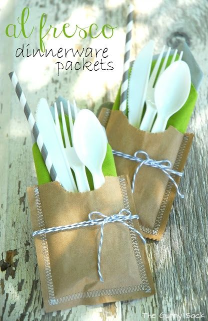 Dinnerware Picnic Packets- made with paper lunch sacks! Could do with blue napkin and a bit of ribbon.
