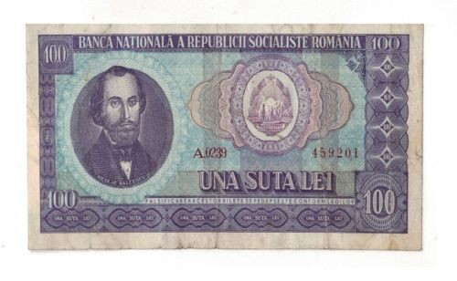 Romania-Socialist-100-lei-1966-Bancnote-Circulated
