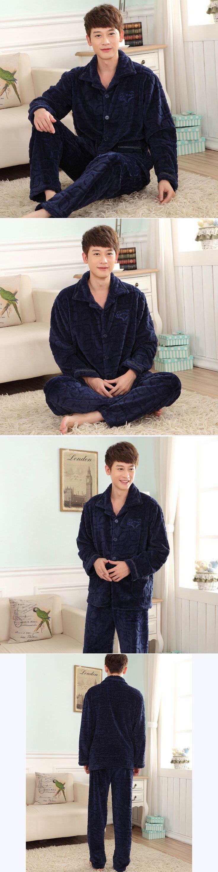 Fall and Winter Men's Flannel Pajamas Sets Fashion Casual Thicken Sleepwear Velvet Mink Cashmere Men's Clothing Large Size