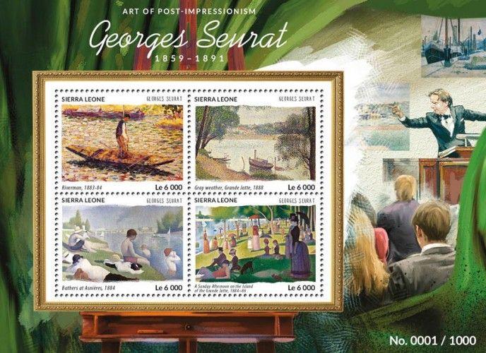 SRL15417a Georges Seurat (Riverman, 1883-1884, Gray Weather, Grande Jatte, 1888, Bathers at Asnières, 1884, A Sunday Afternoon on the Island of the Grande Jatte, 1884-1886)