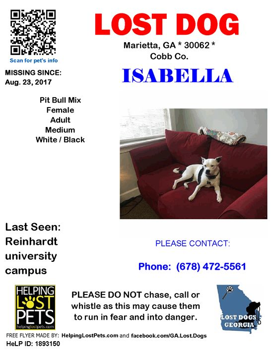 Lost Dog - Marietta GA - Aug.23 2017 Closest Intersection: Reinhardt University Campus County: Cobb  #LOSTDOG #Isabella #Marietta (Reinhardt university campus) #GA 30062 #Cobb Co.  #Dog 08-23-2017! Female #Mix / Pit Bull Mix White / Black/She is the sweetest dog. We adore her and are so heartbroken. Friendly but a little skittish if she doesnt know someone. Lost on the Reinhardt College Campus in Waleska GA.  Phone: (678) 472-5561  More Info Photos and to Contact: http://ift.tt/2xvik9k  To…