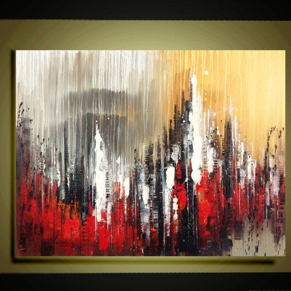 """Original abstract  Oil painting contemporary city landscape palette knife floral impasto painting 24""""x32"""" Ready to Hang by Qujun"""
