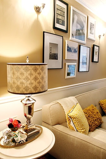 living room - Love the beige - buttery wall color with the white trim!