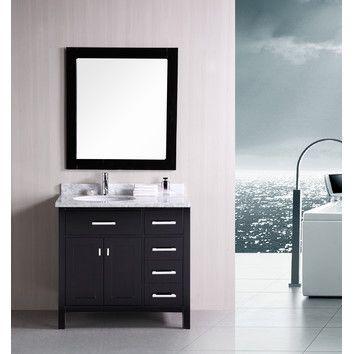 Design Element London 36 Single Bathroom Vanity Set With Mirror Design Elements Sink Design