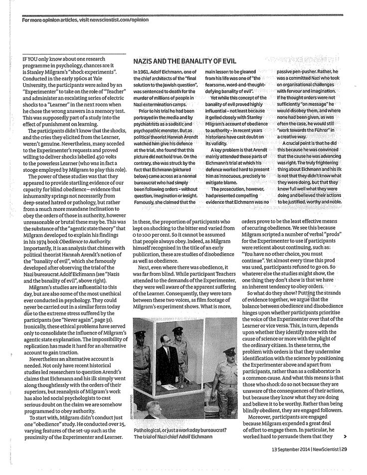 Just obeying orders page 2  New Scientist, 13 September 2014