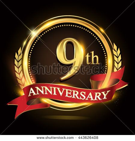 9th golden anniversary logo, 9 years anniversary celebration with ring and red ribbon, Golden anniversary laurel wreath design. - stock vector