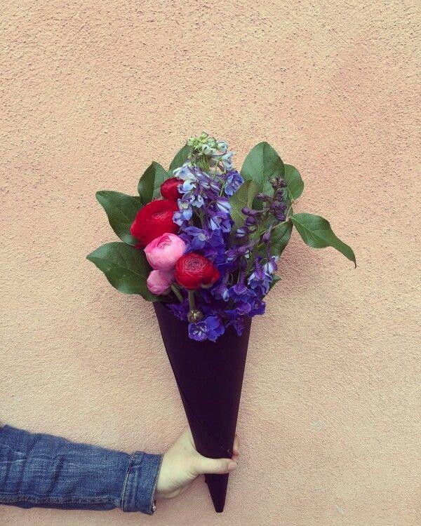 Delphinium and roses