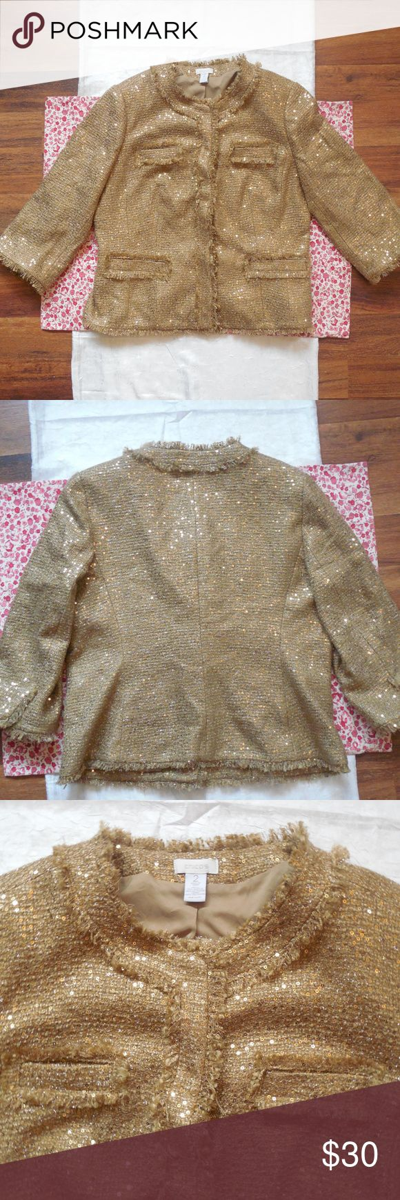 Chico's Gold Blazer Jacket - Metallic Boucle Knit Lovely women's sparkly gold blazer/jacket by in Chico's size 2 (Large).  3/4 sleeves  underarm to underarm: 22 inches length: 24 inches Chico's Jackets & Coats