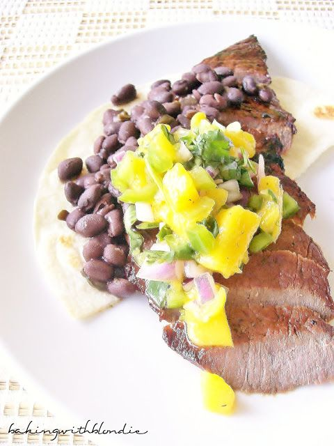 Blondie : Skirt Steak Tostadas with Spicy Black Beans and Fresh Mango ...