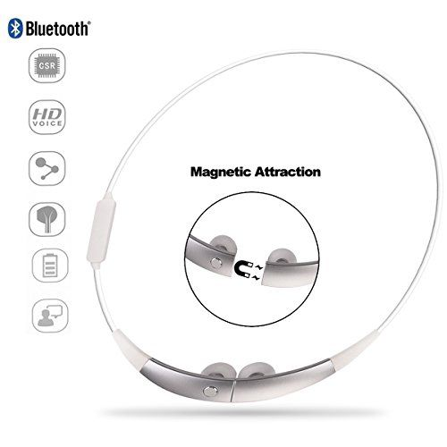 Special Offers - Sport Bluetooth Earphone Costech Magnetic Attraction CSR Wireless Stereo Headphone Neckband Necklace Style Running Headset with Microphone for iPhone Samsung LG Smartphone (Silver) For Sale - In stock & Free Shipping. You can save more money! Check It (November 17 2016 at 12:56AM)…