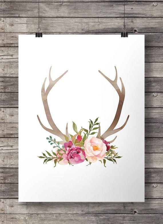 Aquarell Blumen und Geweih Drucken - Printable Geweih Wandkunst - Digitaldruck