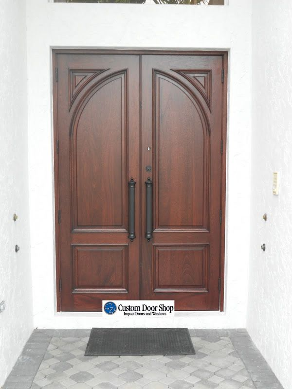 Solid wood double door with arch design