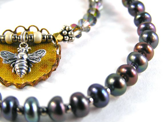 Such A Charmer Necklace  Beaded  Vintage Brass Stampings