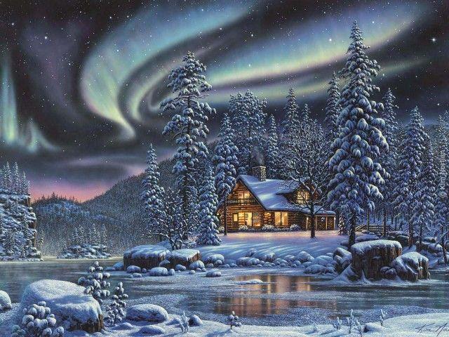 зима, северное сияние