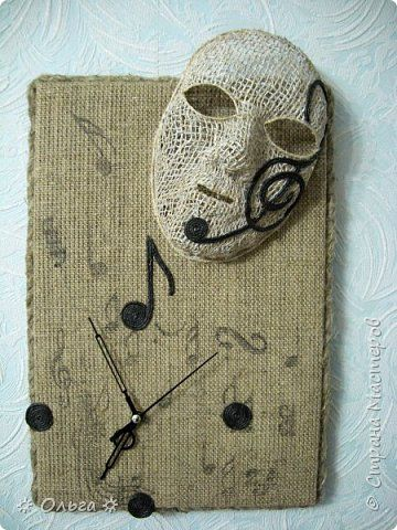 Картина панно рисунок Моделирование конструирование Часы-маска Мешковина Шпагат фото 1