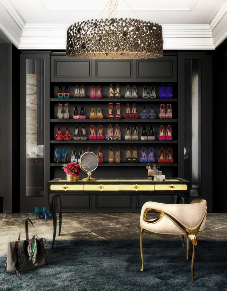 Shoe collection in walk-in closet www.bocadolobo.com #bocadolobo #luxuryfurniture #exclusivedesign #interiodesign #designideas #walkinclosetideas #bedroomideas #walkinclosets #shoes