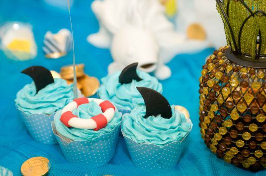 cupcake, cupcake decorado, fundo do mar